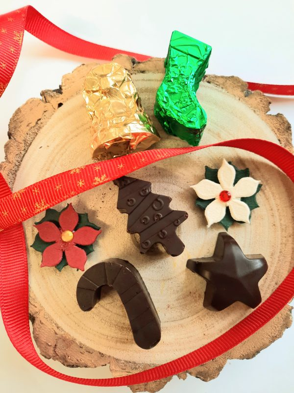 Advent chocolates, star, tree, bell, stocking, candy cane