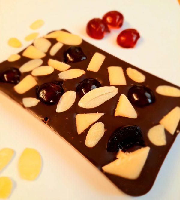 Chocolate bar with cherries and marzipan